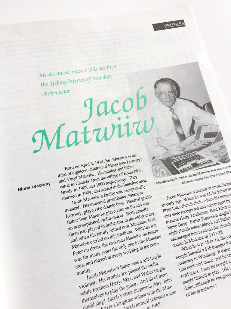 A story about Alberta choir conductor Jacob Matwiiw, a Storyphile people story example.