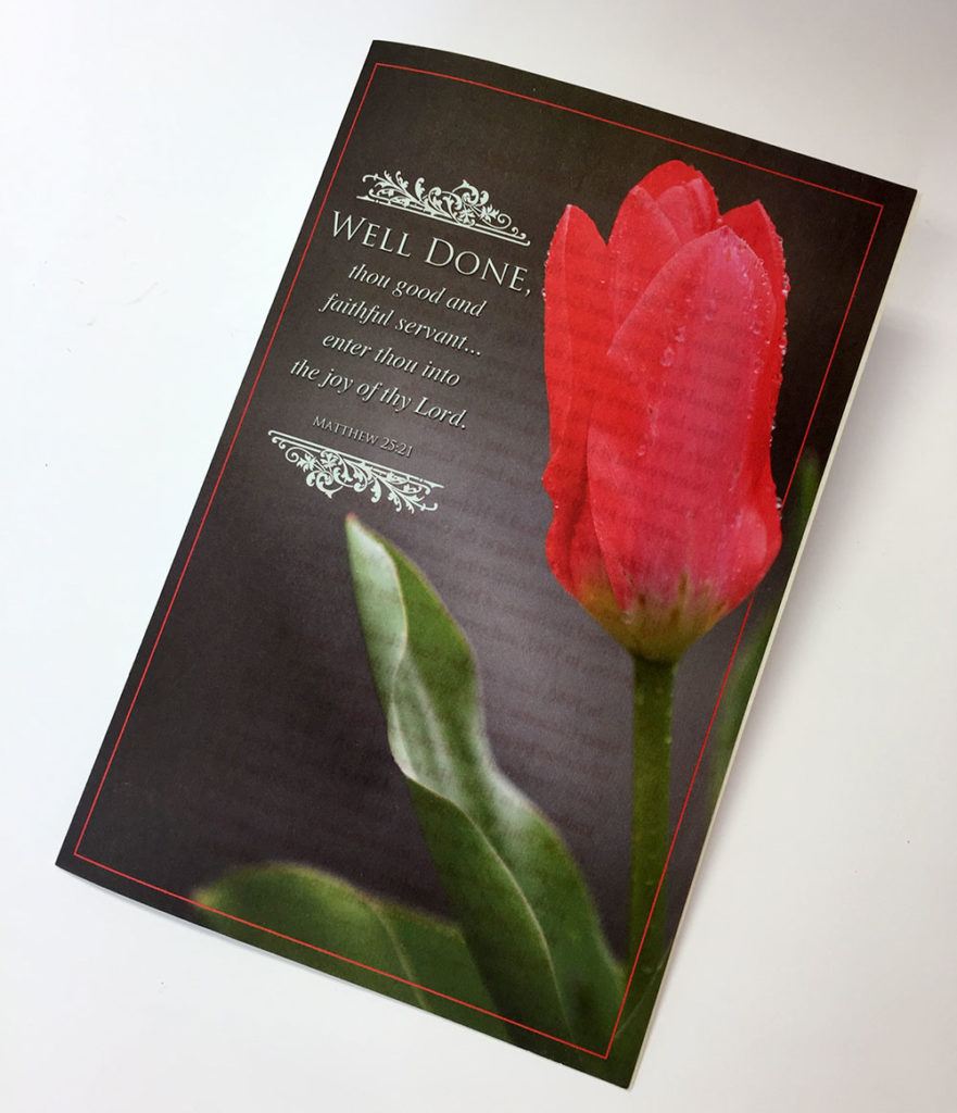 Scarlet tulip on the cover of Lucie Beauchemin's memorial card.
