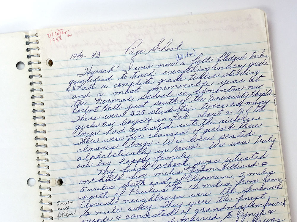 "Image of Josephine Lesoway's original manuscript for her ""My School Days"" memoir, a Storyphile editing project."