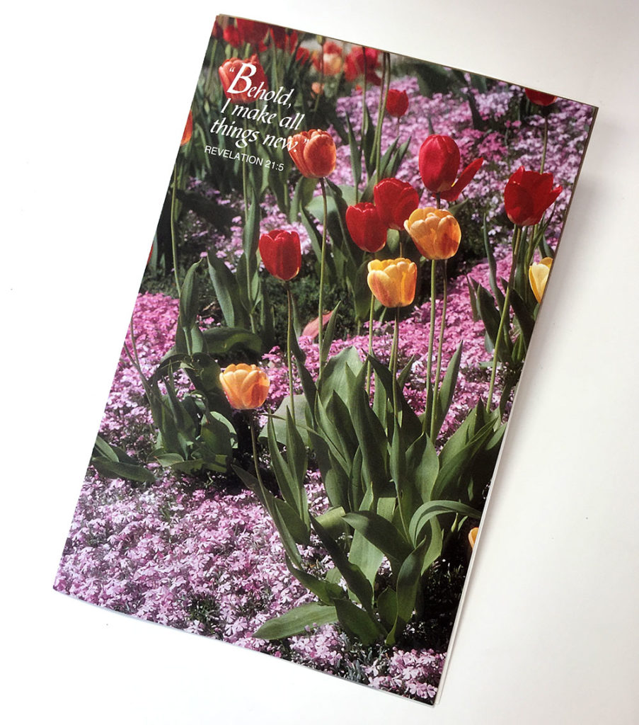 Tulips and phlox on the cover of Josephine Lesoway's memorial card.