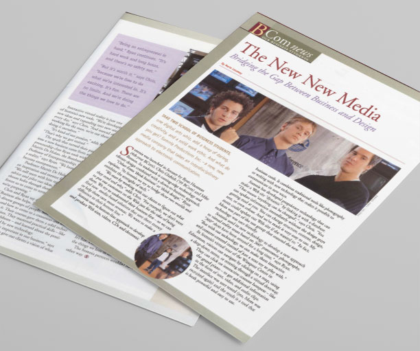 "Image and downloadable excerpt of ""The New New Media"" BCOM News magazine article, a Storyphile corporate history writing example."